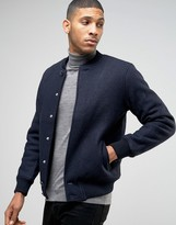 Pull&bear Wool Bomber In Navy