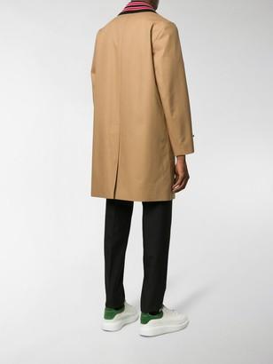 Burberry Detachable Striped Collar Coat
