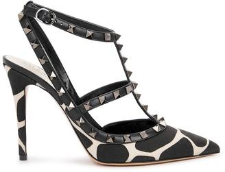 Valentino Rockstud 100 giraffe-print canvas pumps