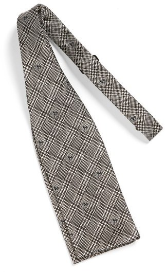Alexander McQueen Skull Plaid Silk Bow Tie