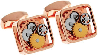 Tateossian Rose-Plated Square Rotating Gear Cuff Links