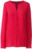 Lands' End Women's Long Sleeve Button Front Blouse-Rich Sapphire Spots