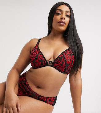 Simply Be plunge lace padded bra in red