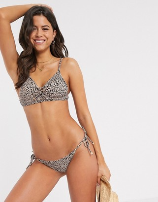 Accessorize lace up triangle bikini top in animal