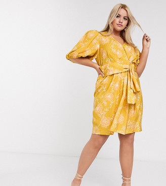 Forever New Curve mini dress in mustard floral
