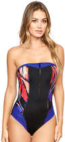 Figleaves Byron Beach Underwired Bandeau Tummy Control Swimsuit