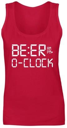Flip Womens Beer O'Clock Drinking Novelty Funny Slogan Vest Tank Top Red UK 8 (S)
