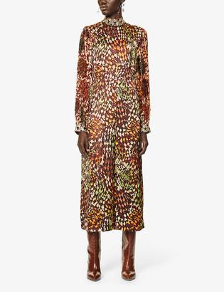 Dries Van Noten Abstract-print beaded satin midi dress