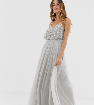 Maya Petite delicate embellished overlay cami maxi dress in silver