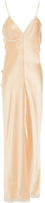 Alexander Wang Chain-trimmed Gathered Silk-satin Maxi Slip Dress