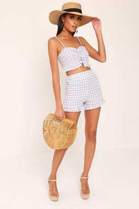 I SAW IT FIRST Grey And White Gingham Top And Shorts Set