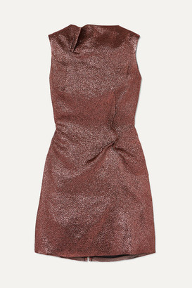 Roland Mouret Gathered Metallic Organza Mini Dress - Pink