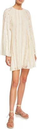 Chloé Long-Sleeve Lace-Inset Crepe de Chine Dress