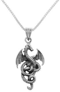 Carolina Glamour Collection Sterling Silver Flying Wing Dragon Pendant on Box Chain Necklace