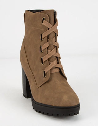 Soda Sunglasses Lug Sole Lace Up Eyelet Taupe Womens Booties