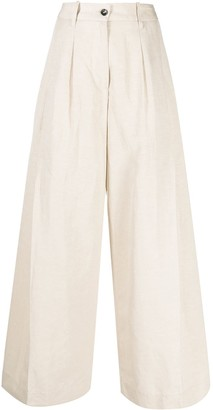 Nine In The Morning Pressed-Crease Wide-Leg Trousers