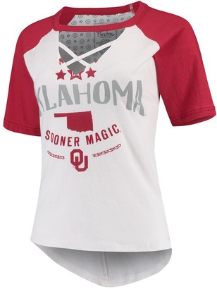 Unbranded Women's Pressbox White/Crimson Oklahoma Sooners Abbie Criss-Cross Raglan Choker T-Shirt