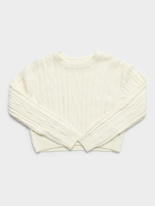 Beyond Her Callie Cable Crew in Cream