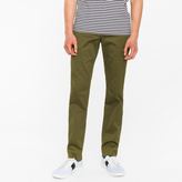 Paul Smith Men's Slim-Fit Olive Green Cotton-Twill Stretch Chinos