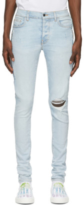 Amiri Blue Watercolor Half-Track Jeans