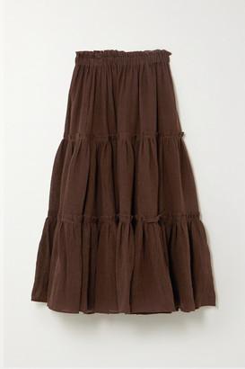 Lisa Marie Fernandez Net Sustain Tiered Organic Linen-blend Gauze Midi Skirt - Brown
