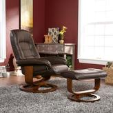 Cafe Brown Bonded/Reconstituted Leather Recliner and Ottoman
