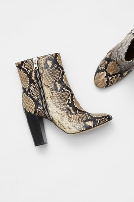 French Connection Snake Print Zip Ankle Boots