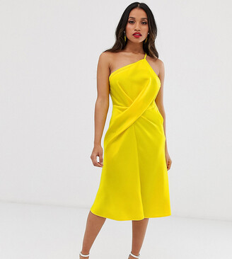 Asos DESIGN Petite midi dress with one shoulder in satin-Red