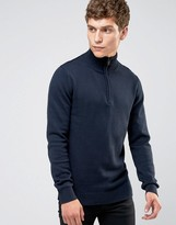 Selected Roll Neck Knit with Zip Neck Detail