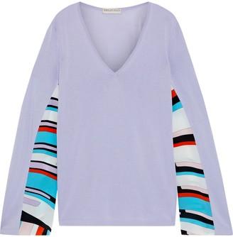 Emilio Pucci Printed Crepe De Chine-paneled Cotton-blend Sweater