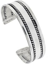 Sabrina Silver Sterling Silver Cuff Bracelet Flat wire with 2 Ropes Handmade 7.25 inch