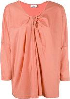 Jil Sander draped V-neck blouse - women - Cotton/Modal - S