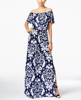 INC International Concepts Printed Off-The-Shoulder Maxi Dress, Only at Macy's