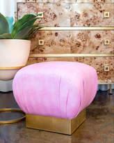 Bale Pouf Ottoman, Pink/Gold