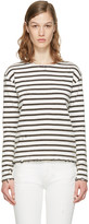 R 13 White Breton Stripe Long Sleeve T-shirt