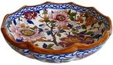 One Kings Lane Vintage French Faience Peonies Serving Bowl - The Emporium Ltd. - white/blue/bordeaux/ochre/olive khaki/sky/multi-color