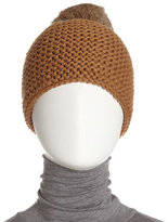 Hat Attack Rabbit Pompom Crochet Beanie, Tobacco