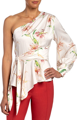 Santorelli Vega Lily Printed One-Shoulder Charmeuse Blouse