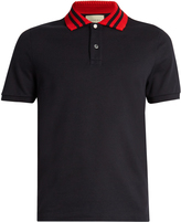 Gucci Contrast-collar cotton-blend polo shirt