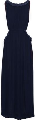 Sensi Cutout Crochet-trimmed Crinkled Gauze Maxi Dress