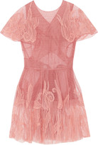 Valentino Embroidered Swiss-dot tulle mini dress