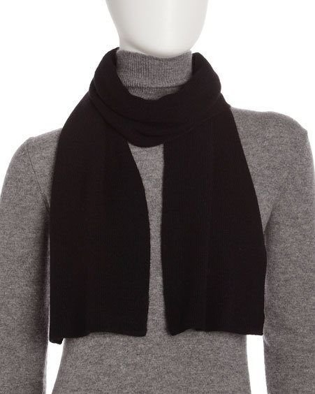 Portolano Cashmere Two-Ply Scarf, Black