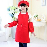 N2 Cute Kids Children Kitchen Baking Painting Apron Baby Art Cooking Craft Bib Pop (Red)