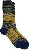 Antipast Women's Fair Isle Mid-Calf Socks-BLUE