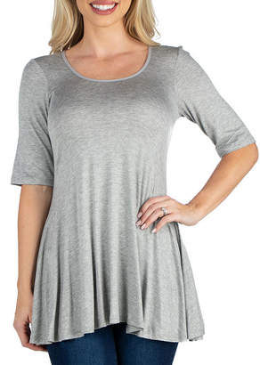 24/7 Comfort Apparel Elbow Sleeve Tunic Top