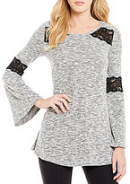 I.N. San Francisco Knit Bell-Sleeve Lace-Trim Top