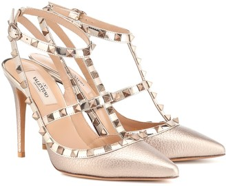 Valentino Rockstud metallic leather pumps