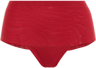 La Perla Embroidered Tulle And Stretch-jersey Mid-rise Briefs
