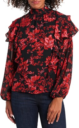 Vince Camuto Victorian Blooms Tiered Ruffle Sleeve Blouse