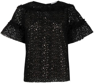 P.A.R.O.S.H. Ruffle-Embellished Lace Top